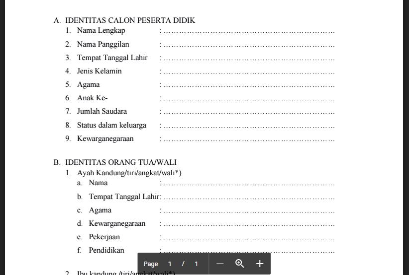 Contoh Formulir Pendaftaraan Siswa Baru Paud Tk Ra Kb Tpa