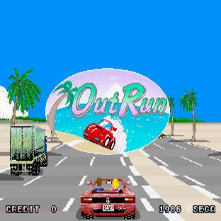 OutRun, captura de pantalla. Nuestro Ferrari, nuestra chica y tú a toda velocidad por anchas carreteras