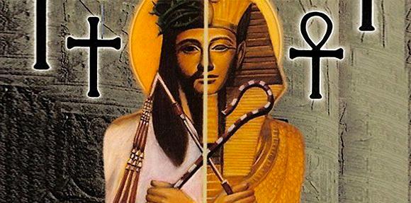 jesus y osiris con la cruz cristiana