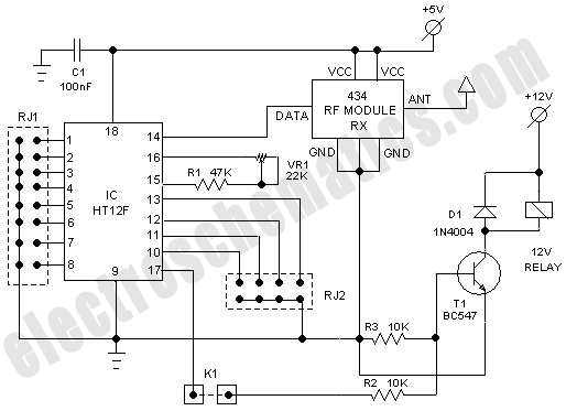 circuit schematic 434mhz rf based wireless remote control system