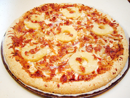 Spicy Hawaiian BBQ Bacon & Chicken Pizza