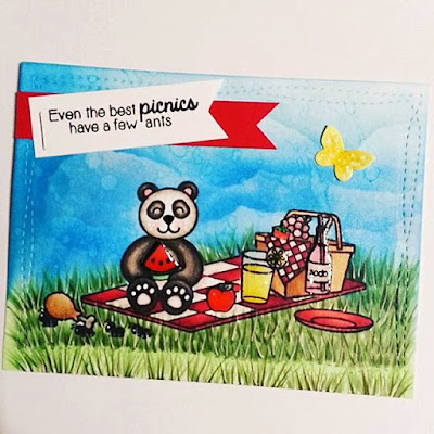 Sunny Studio Stamps:  Summer Picnic & Comfy Creatures Panda Card by Jamie Peters
