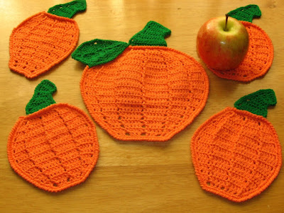 Pumpkin Coasters Set Handmade by RSS Designs In Fiber - Made-To-Order