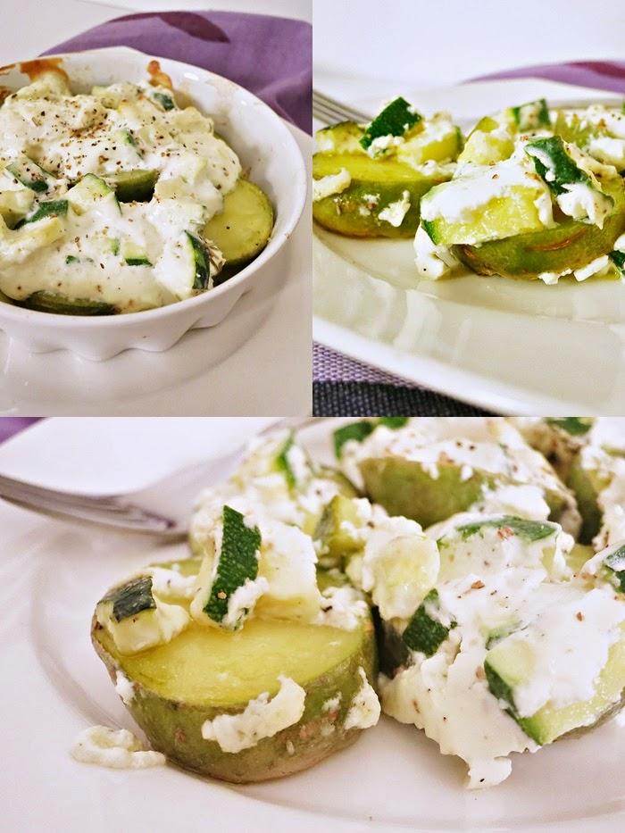 Ofenkartoffel mit Zucchini und Schafskäse überbacken