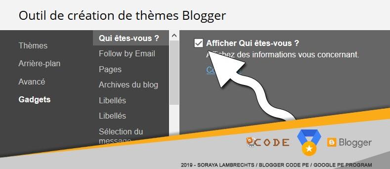 Option de visibilité des gadgets dans dans l'outil de création de thèmes Blogger.