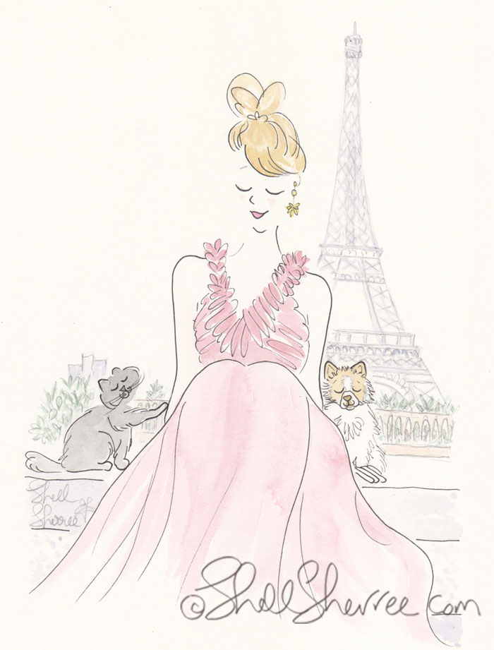 Paris Eiffel Tower illustration: Red Gown with Patient Pomeranian and Impatient Kitty Cat © Shell Sherree