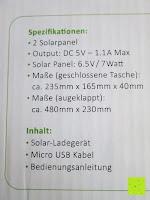 Spezifikation: Kalibri® Solar Ladegerät für umweltfreundliches Laden von Smartphone, Tablet, iPhone und iPad