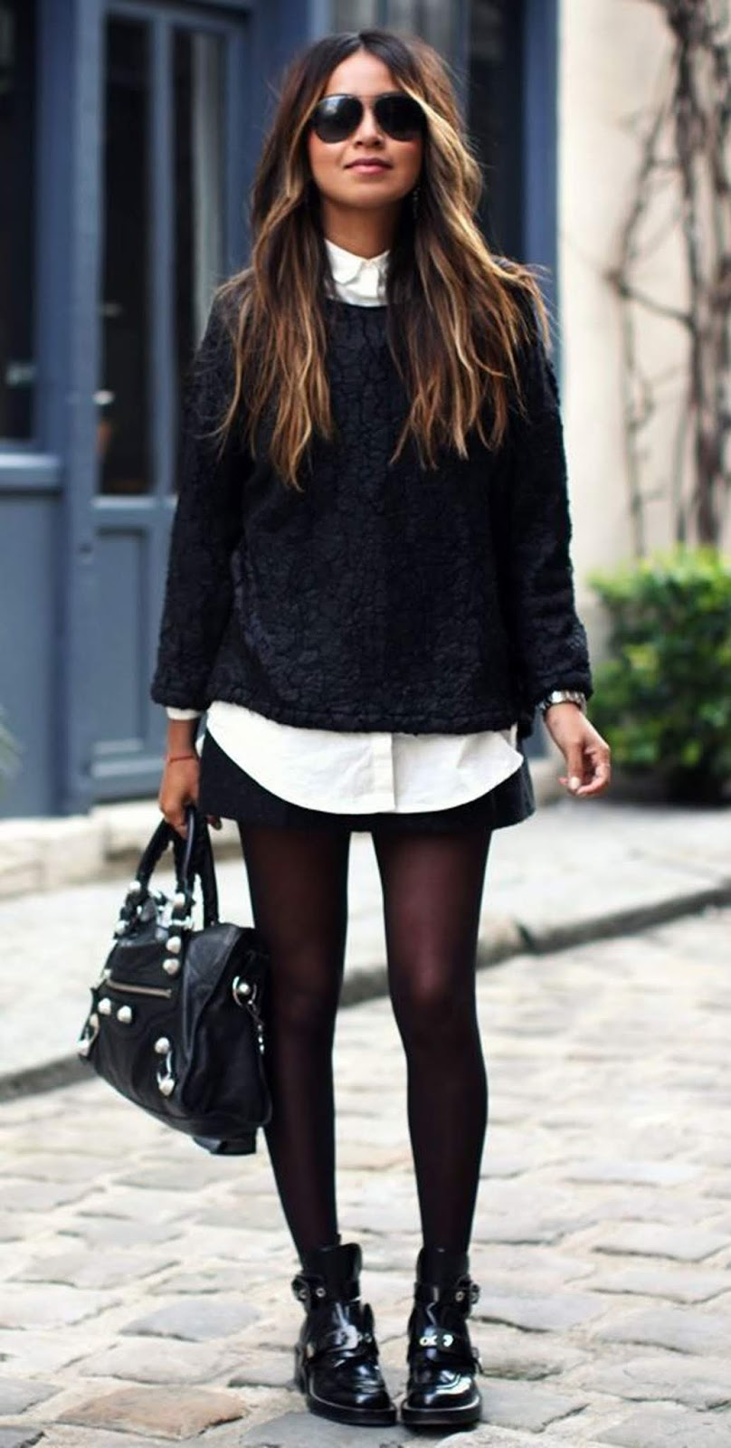 what to wear this fall : black sweater + skirt + white shirt + bag + boots