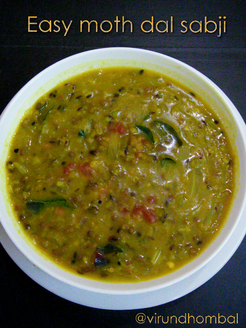 A simple moth dal sabji  that is easy to cook without much effort. The cooking method is very simple, fast and suitable for beginners too. This moth dal sabji is great for roti, poori and with a bowl of warm rice. I always like to eat these kinds of mild dals with roti for dinner and it is good for people of all ages. You don't have to grind any masalas and there is no need for any spice powders. You can do the same dal with whole green moong dal. If you are using whole green moong dal, soak the dal 5 hours and then pressure cook for uniform cooking. In this dish, I have added combination of two dals but you can use any one variety. Let's see how to prepare this Easy moth dal sabji with step by step photos.