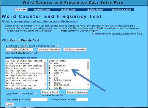 Toda-lly Comprehensible Latin: Word Frequency Counter Tool