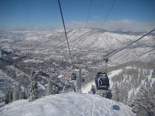 Riding the Silver Queen Gondola to the top of Aspen Mountain.