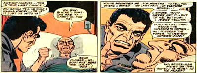 Amazing Spider-Man #48, john romita, blackie drago is talking to the original vulture who lies on his death bed in prison