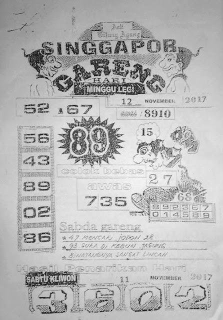 Syair Singapura Naga Mas Minggu 12-11-2017