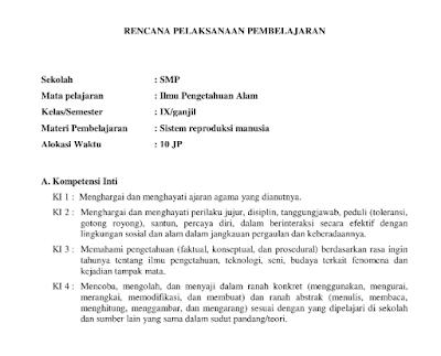 RPP IPA Kelas 9 Kurikulum 2013 Revisi tahun 2018