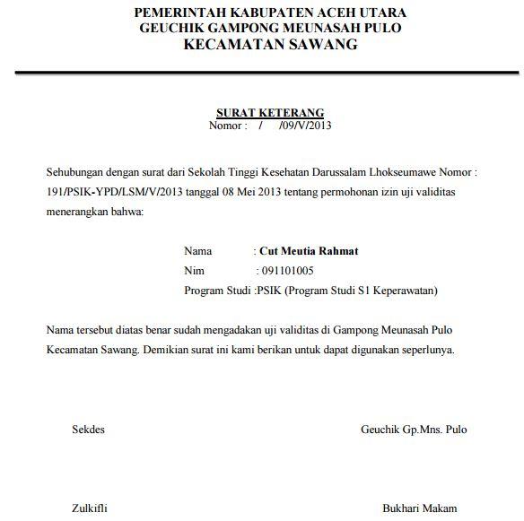 Contoh Surat Keterangan Uji Validasi Telah Mengadakan