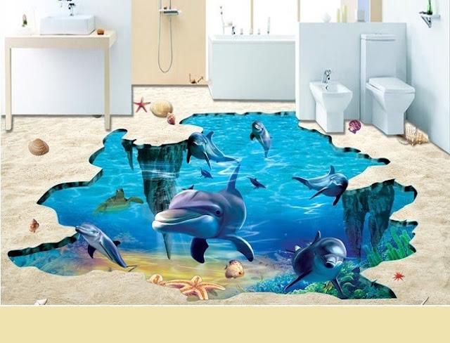3D flooring installation and 3D bathroom floor designs