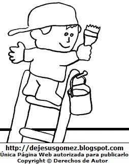 Dibujo de un niño pintando para colorear pintar imprimir. Dibujo de u niño hecho por Jesus Gómez