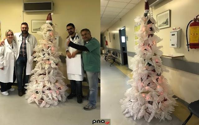 Ξεχωριστό το Χριστουγεννιάτικο δέντρο στο Παναρκαδικό Νοσοκομείο Τρίπολης