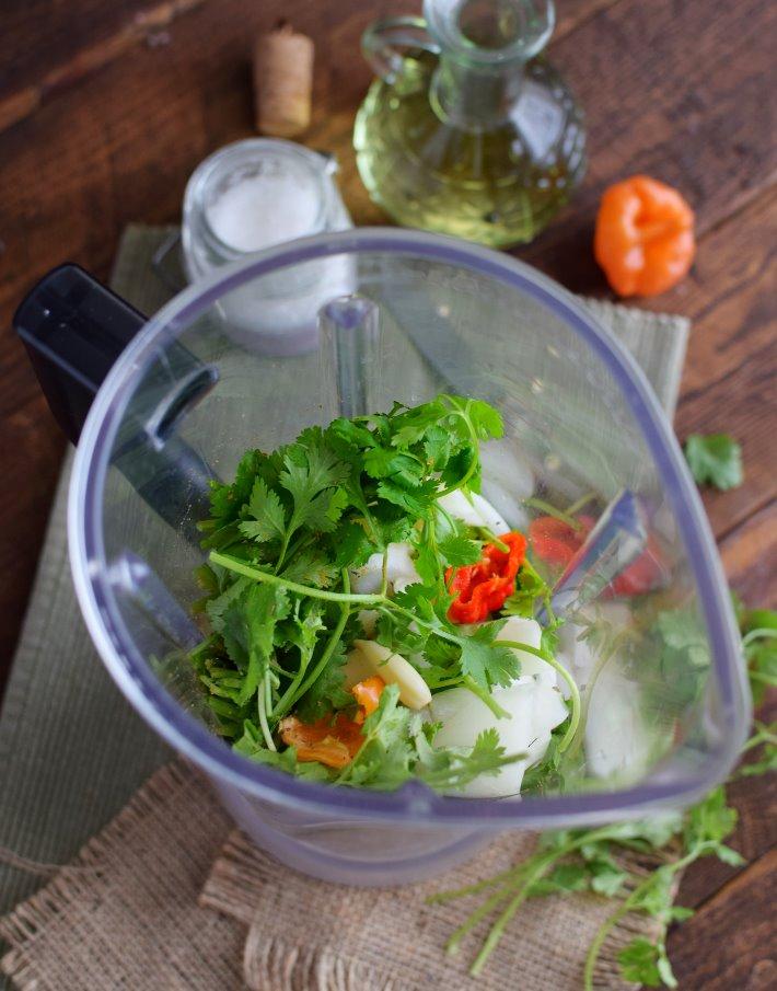 Preparación del sofrito en un vaso de licuadora o procesador de alimentos