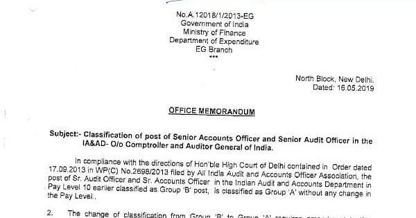 Classification of post of Senior Accounts Officer and Senior