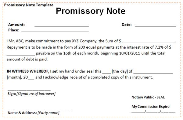 Unsecured Promissory Note Template promissory note forms – Example of Promissory Note