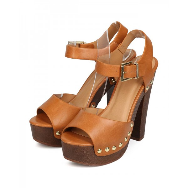 Brown Ankle Strap Platform Chunky Heel Sandals