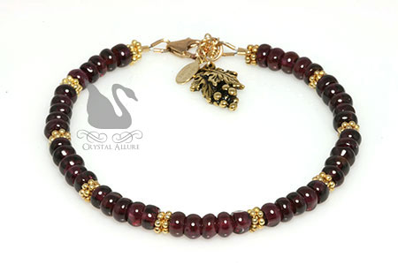 Shiraz Wine Rhodolite Garnet Gemstone Beaded Bracelet (B124) -Marsala Pantone's Color of the Year 2015