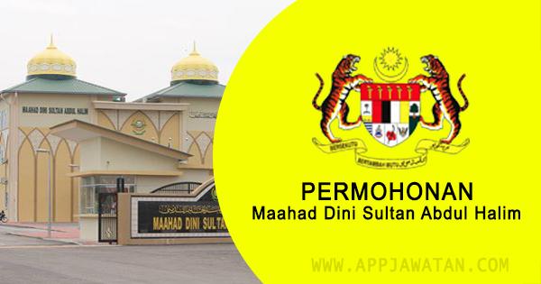 Jawatan Kosong di Maahad Dini Sultan Abdul Halim