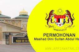 Jawatan Kosong di Maahad Dini Sultan Abdul Halim - 22 November 2018
