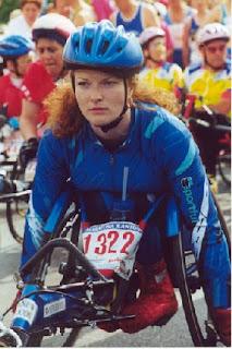 Francesca in her racing wheelchair