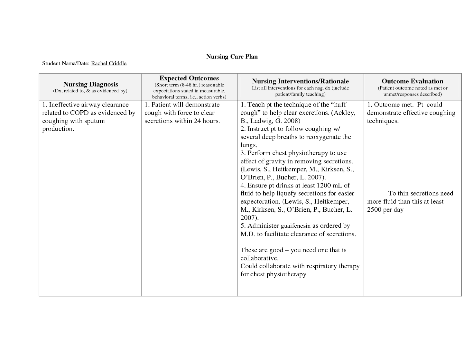 nursing teaching plan template - copd nursing care plan nursing care plan examples