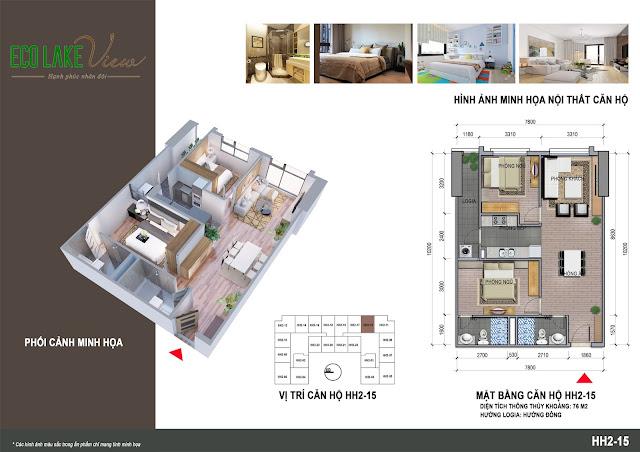Thiết kế căn hộ B1-15 chung cư Eco Lkae View