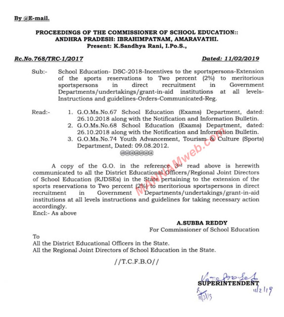 sports reservations to Two percent (2%) to r meritorious Government of the sports persons direct recruitment Instructions and guidelines-Orders-Communicated-Reg.