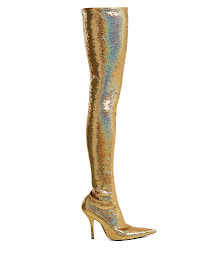 Gold Balenciaga Knife over-the-kneeboots as seen on Michelle Obama