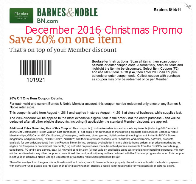 Printable barnes and noble coupons december 2018