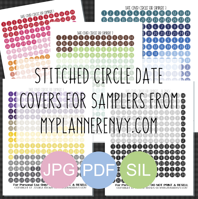 Free Printable Stitched Circle Date Covers for Samplers from myplannerenvy.com