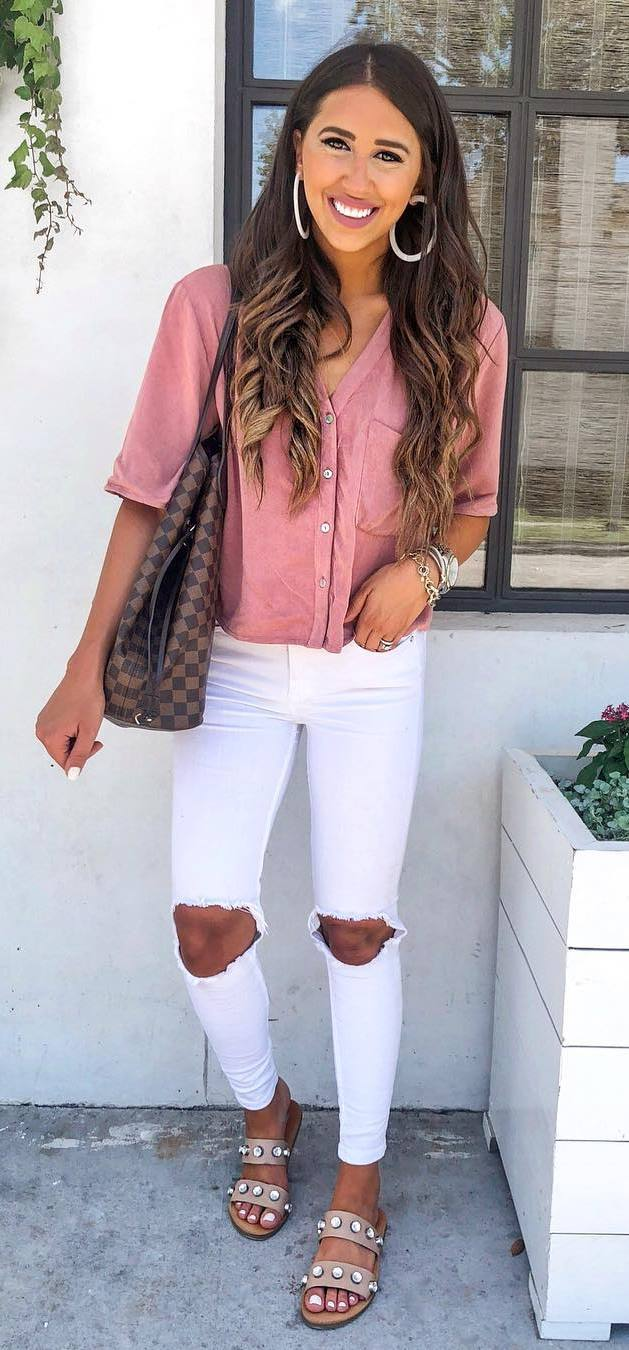 casual style obsession / shirt + bag + white rips + slides
