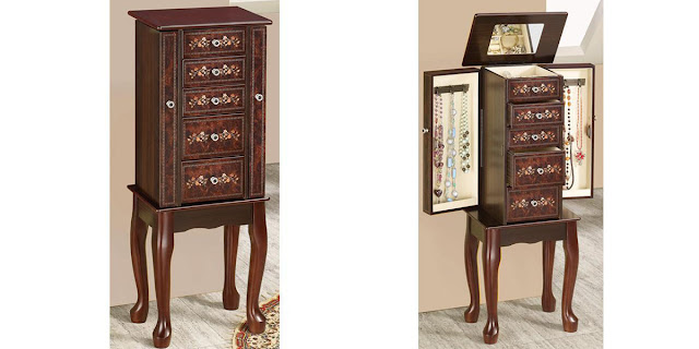 Shop Nile Corp Wholesale Jewelry Storage Armoire with 5 Drawers and Floral Accents