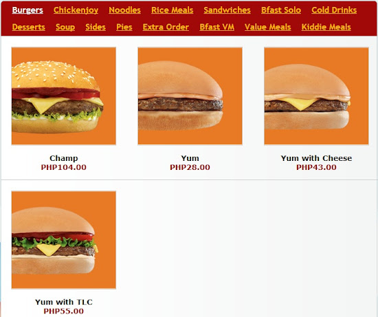 Burgers available for create your own meal Jollibee party package