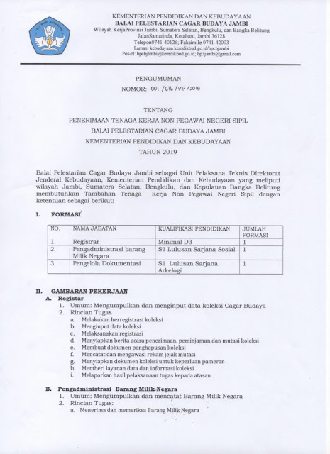 Penerimaan Tenaga Kerja Non Pegawai Negeri Sipil Balai Pelestarian Cagar Budaya Kementerian Pendidikan dan Kebudayaan