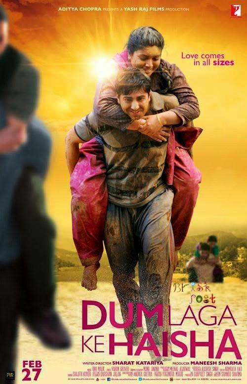 Ayushmann Khurrana carrying Bhumi Pednekar on back in Dum Laga Ke Haisha movie Poster