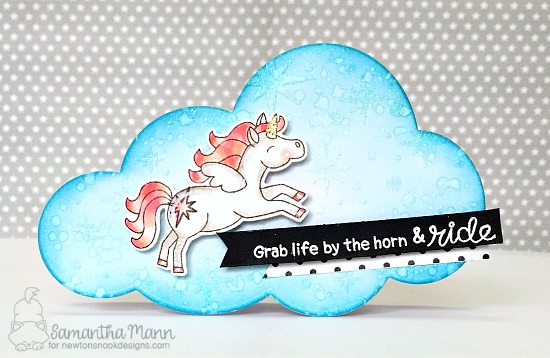 Unicorn Card by Samantha Mann | Believe in Unicorns Stamp Set & Starfield Stencil by Newton's Nook Designs #newtonsnook