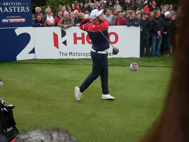 Andrew 'Beef' Johnson finishes his drive at the 2nd hole - British Masters 2016