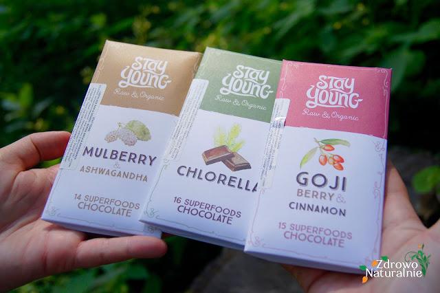 Słodkie popołudnie z czekoladami  z surowego kakao z mnóstwem superfoodów STAY YOUNG