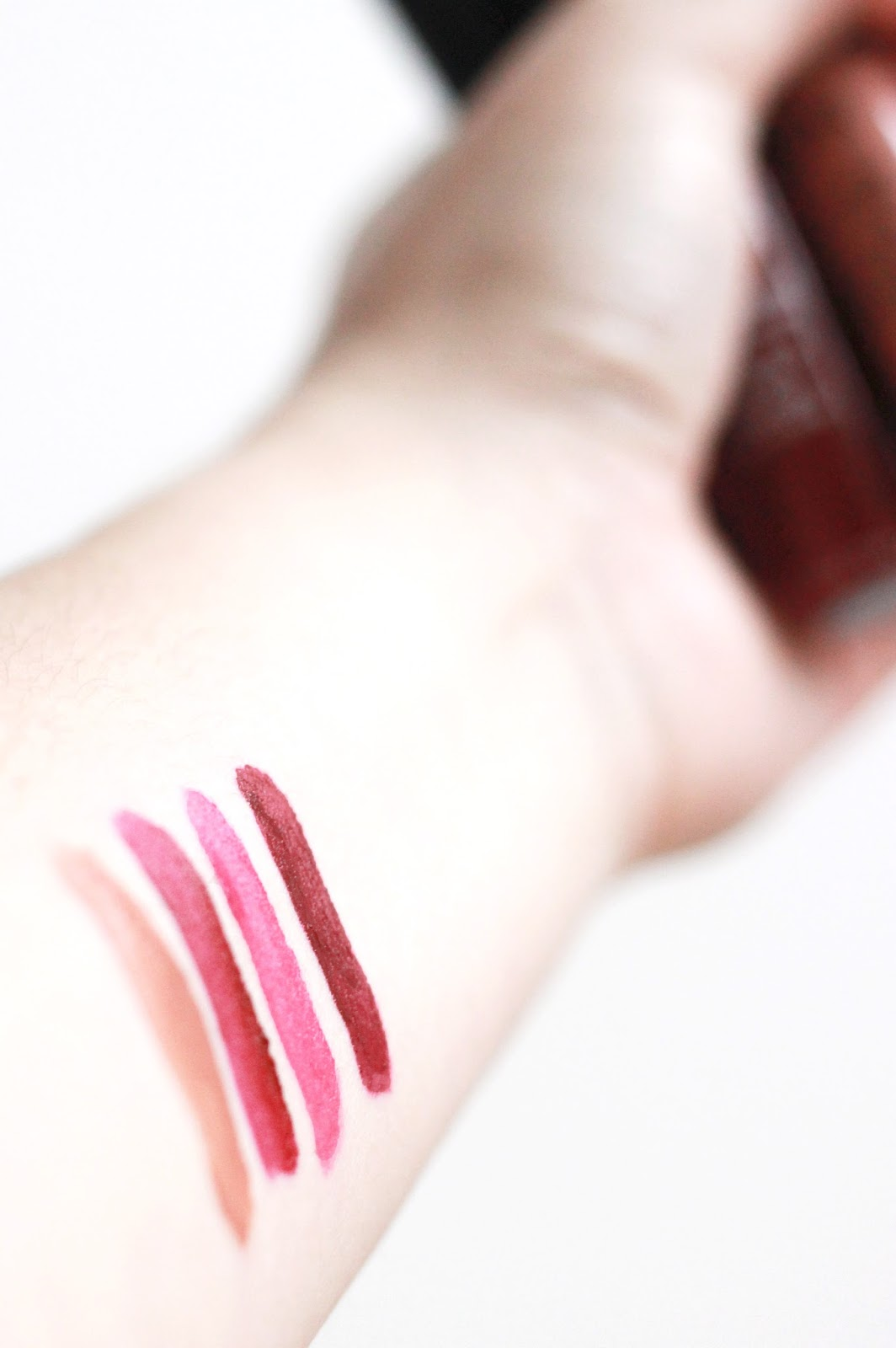NYX Soft Matte Lip Creams Copenhagen, Milan, Madrid, London Swatches