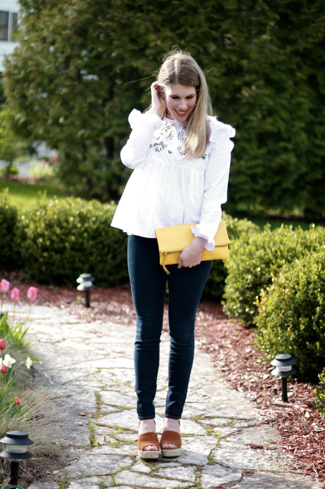 white embroidered blouse, Old Navy maternity jeans, Steve Madden wedge sandals, yellow clutch