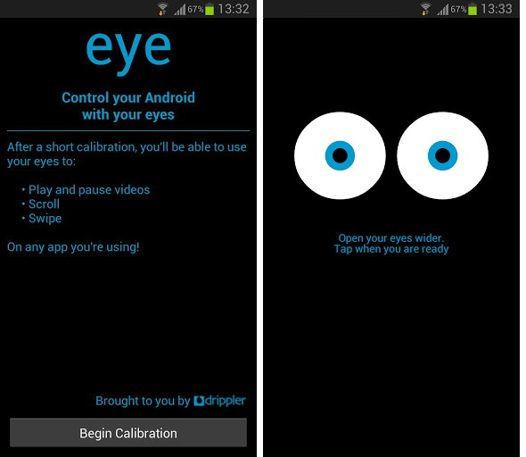 eye tracking app  control your android devices with your
