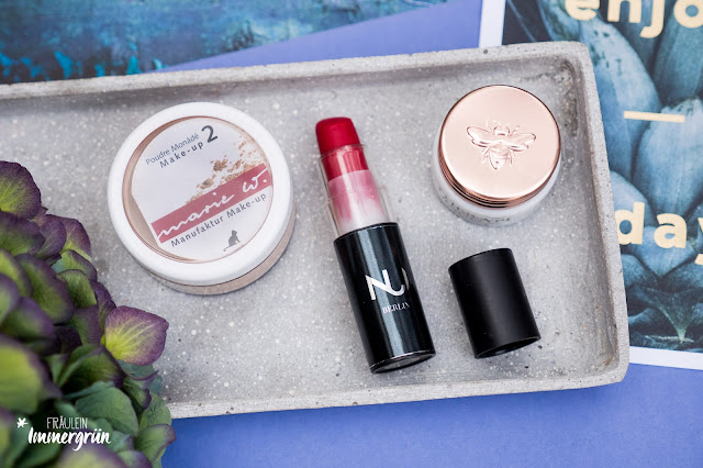 Marie W. Mineral Make-up No. 2, Nui Cosmetics Lipstick Aroha, Therapi Honey Skincare Lip Nectar