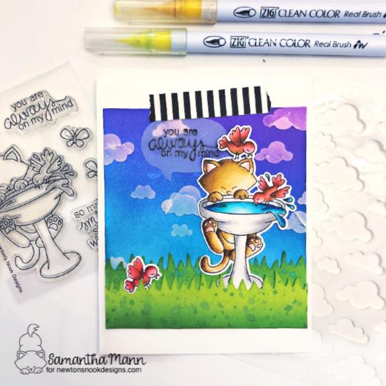 Always On My Mind Kitty Card by Samantha Mann | Newton's Birdbath Stamp Set, Cloudy Sky Stencil, Land Borders Die Set and Speech Bubbles Die Set by Newton's Nook Designs #newtonsnook #handmade