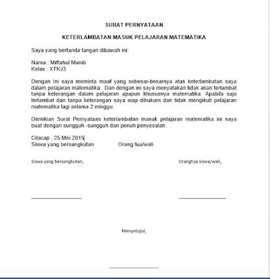 Contoh Surat Pernyataan Terlambat Datang Ke Sekolah